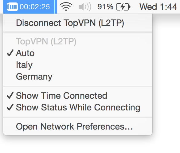 Also you can easly connect, disconect or switch between our VPN locations from the menu bar on your MacOS.